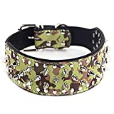 DWODNJAJ Pet Lederhalsband Personalisierte Nieten Haustier Halskette Hund Kreis groß, TarnungL 66 * 5 cm