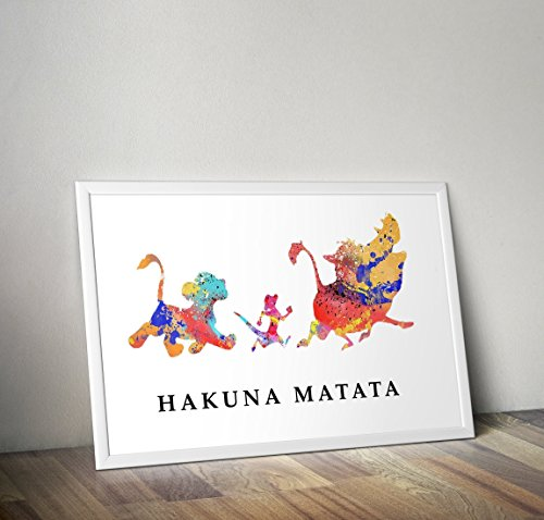 Affiche du Roi Lion Aquarelle Inspirée Affiche - Simba - Citation - Tirages TV/Film alternatifs dans différentes tailles (Cadre non inclus)