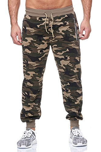 JILLYMODE modische Herren Jogginghose I Sporthose in mehrer Farben mit Gummiband, Seitentaschen mit Reißverschluss H136-Kamoflage