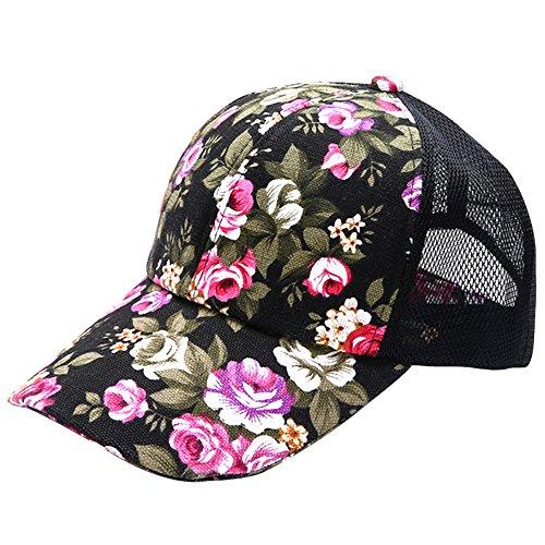 Vococal® Mode Floralen Stil Sommer Mesh Baseball Caps - Damen Einstellbare Hip Hop SnapBack Hüte, Schwarz