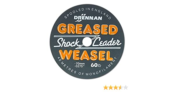 Drennan Greased Weasel Shock Leader 40m Spool All Sizes /& Colours Available