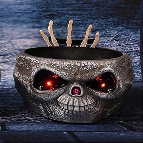 WSJDE Scary Halloween Requisiten Halloween Bowl Schädel Halloween Dekoration Elektro Moving Hand Obst Candy Organizer Party SuppliesHEI