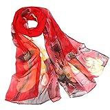 cinnamou Damen Schultertuch Stola - Eleganter Schal mit floralem Muster in vielen Farben, Fashion Druckschals Lotus lange weiche Wrap Schal