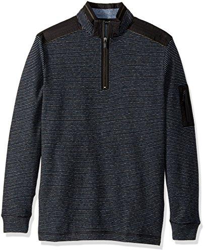 Half Zip Knit Top (Bugatchi Herren Men's Cotton Half Zip Mock Neck Knit Henley Shirt, schwarz, Klein)