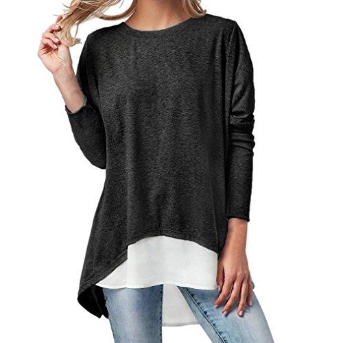 JiaMeng 2 STÜCKE Mode Frauen Langarm Oansatz Taste Patchwork Langarm T Shirt Tops