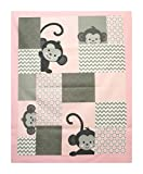 Lovely Fabric Panel for Nursery/Children/Babies Cot Quilt/Wall Hanging/Play Mat --- Cute Little Monkey