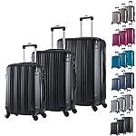 WOLTU RK4208sz Reise Koffer Trolley Hartschale mit erweiterbare Volumen , Reisekoffer Hartschalenkoffer 4 Rollen , M / L / XL / Set , leicht und günstig , Schwarz 3er Set (M+L+XL)