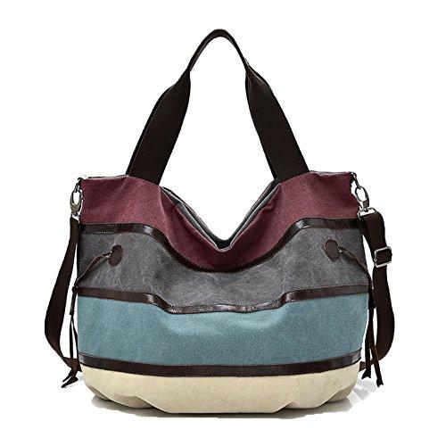 Damen Leinwand Handtasche Schultertasche Henkeltaschen Umhängetasche Hobo Shopper Tasche Tragetasche Strandtasche Schulranzen. (Bluestitching) (Um Hobo)