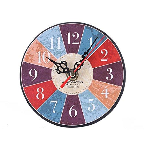 Uhr,Binggong Vintage Style Nicht Tickende Stille Antike Holz Wanduhr Für  Home Kitchen Office Runde Uhr Aus Holz Uhr Kleine Schlafzimmer Uhr  (13*13cm, I)