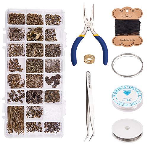 PandaHall Elite Antique Bronze Schmuckherstellung Kit Schmuck Reparatur-Tools mit Zubehör, Jump Ring/Ohrring Erkenntnisse/Eyepin/Bead Cap/Headpin/Ribbon Ende/Zange/Perlen Pinzette