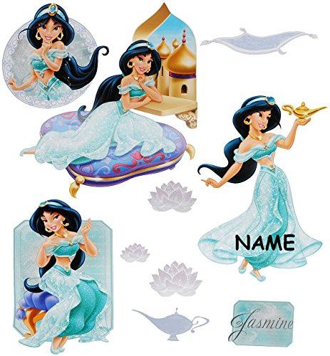 alles-meine.de GmbH 10 TLG. Set _ Fensterbilder -  Disney Prinzessin Jasmin / Aladdin  - incl. Name - Sticker Fenstersticker Aufkleber - selbstklebend + wiederverwendbar - Fens..