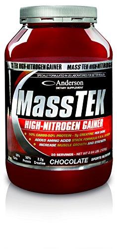 Integratore Anderson Mass Tek Nitrogen Gainer 1,2 Kg (Vaniglia/Nocciola) - 50% Proteine Whey - 50% Carboidrati - Vitamine - Creatina - Carnitina - Taurina - Ornitina - Leucina - Glutammina