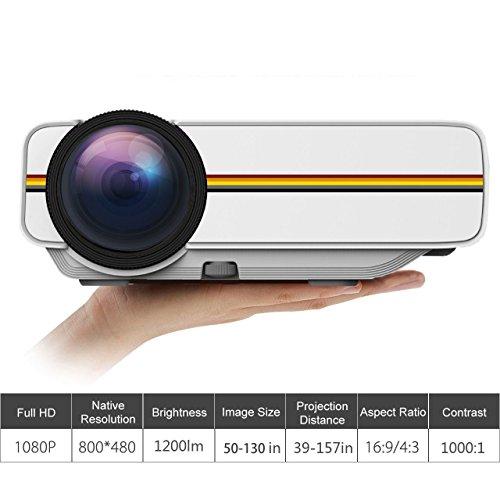 MUXAN LED-Mini-Videoprojektor,tragbarem Pico-Projektor mit 1200 Lichtausbeuten und 1080 P, ideal für Heimkino-Filmunterhaltungspartys, weiß 13.12 Video