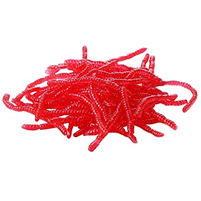 1 Bag Red Fishing Lure Soft Maggot Earthworm Plastic Worm Artficial Bait from Foru-1