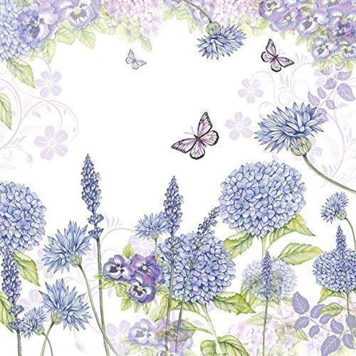 """Fleurs Papillons Lilas 3 Plis 20 Serviettes Papier 13"""" X 13 \"""