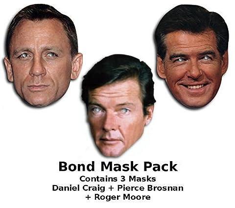 James Bond Maske-set, Daniel Craig, Roger Moore/Pierce Brosnan