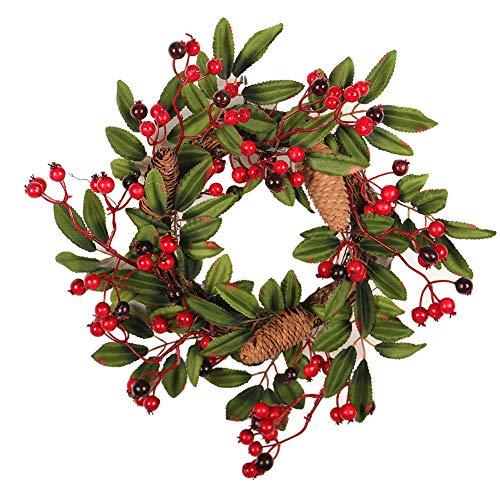 TODAYTOP Corona de Navidad con Colgante para decoración de Ventanas de casa, de Pino Verde y ratán