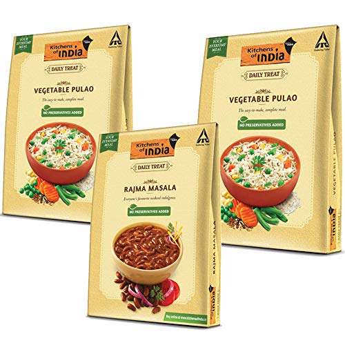 ITC Kitchens of India Combo Pack - Rajma Masala 285g and Vegetable Pulao Pack of 2 Each 250g