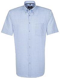 SEIDENSTICKER Herren Hemd Modern 1/2-Arm Bügelfrei Karo City-Hemd Button-Down-Kragen Ohne Manschette