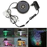 GreenSun LED Lighting Teichlampen Unterwasser RGB Aquarium Bubble Beleuchtung Aufsatz leuchte Aquariumlampe 12LEDs Strahler Teichlampe Teichstrahler Lüfterplatte Dekorative für Fisch Tank Aquarium
