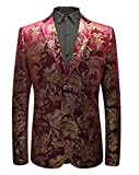 OUYE Herren Lila Rot Sakko Blazer Luxury Anzugjacke Medium