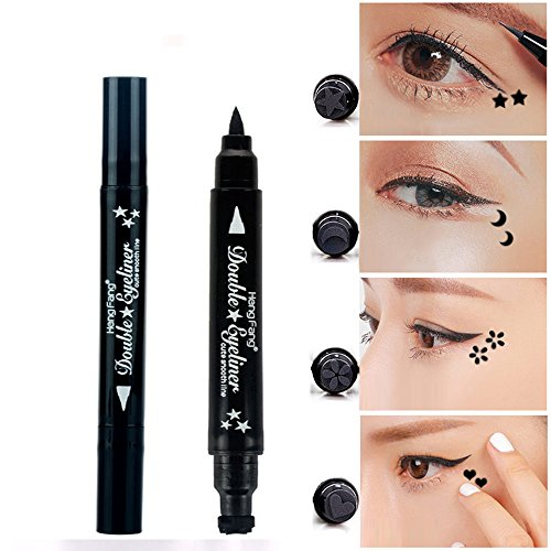 Pinkiou 1x Eyeliner Stylo à crayons avec maquillage pour les yeux Stamp Waterproof Double face Etui à lèvres longues Eyeliner Cosmetics Tool (Star)
