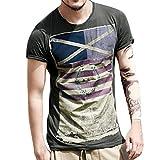 T-Shirt da uomo _ feiXIANG Moda Casuale Maniche Corta Girocollo T Shirt Stampa Digitale Camicetta Maglietta da Uomo Camicie da Uomini Tees Manica Corta Tops Maniche Corte Polo Shirts (Nero, L)