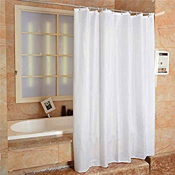 Fabric Shower Curtain Plain White Extra Wide Long Standard With Hooks Ring 300 Width X 200 Length