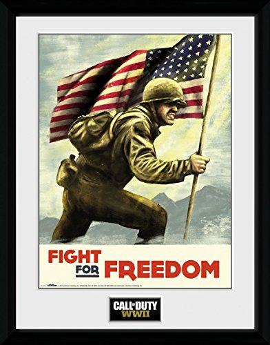 Preisvergleich Produktbild 1art1 108385 Call Of Duty - WWII Fight For Freedom Gerahmtes Poster Für Fans Und Sammler 40 x 30 cm