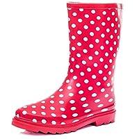 SPYLOVEBUY Kids Girls Boys Flat Festival Wellies Rain Boots Red Spot Sz 4