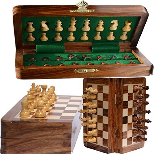 Rosewood Board (Chess Bazar - Magnetic Travel Pocket Chess Set - Staunton 7 X 7 Inch Folding Game Board Handmade in Fine Rosewood)