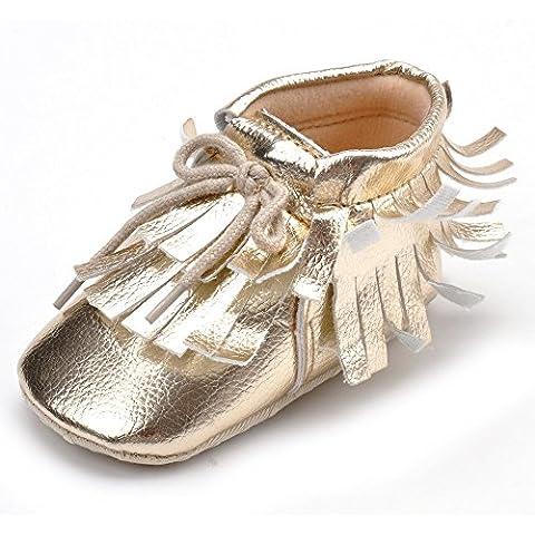 estamico Baby Girl de encaje solo zapatos con flecos suave inferior