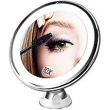 espejo baño con luz y ventosas, Bestope espejo de maquillaje 10X aumento pared,21 LED ajustable cosmético y afeitar espejo,Rotación ajustable de 360 °