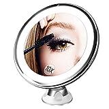 espejo baño con luz y ventosas, Bestope espejo de maquillaje 10X aumento pared,21 LED ajustable...
