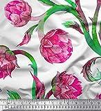 Soimoi Rosa Viskose Chiffon Stoff Blätter & Lotus Blume