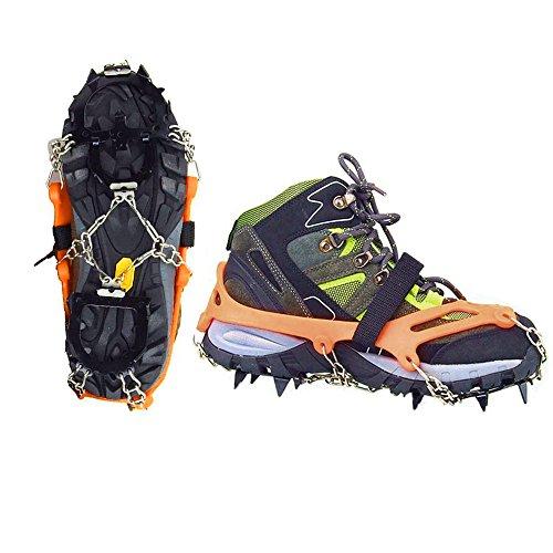 Vdealen Paire de Crampons à glace en acier inoxydable avec 12pointes - Crampons antidérapants avec chaîne - pour le ski de randonnée, l'escalade, la randonnée sur glace et neige, Arancione/ M (36-41)
