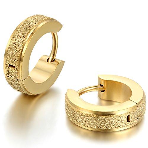 JewelryWe Schmuck Herren Damen Ohrringe, Edelstahl, Sandgestrahlt Creolen Hoop Huggie Ohrstecker, Gold