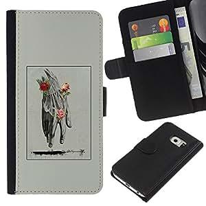 EJOY---Raccoglitore di vibrazione Custodia in pelle Premium Custodia protezione PU / Samsung Galaxy S6 EDGE / --Mano Uomo Primavera Deep Rose Significato