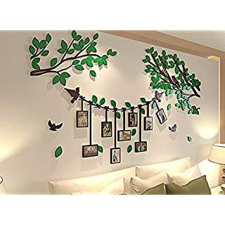 Spring Country 3D Tree Wall Stickers With Photo Frames | Black Branch Green Leaf home Decal | Family Wall Decor Home Improvement Memory With Children | Nursery Room Wall Stickers | 60 Inch 34 Inch (60 X 34 Inch Green 3d Branch)