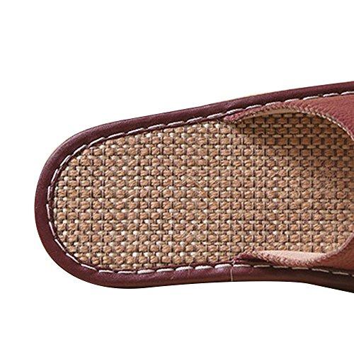 WANGXN Femme Pantoufles pantoufles d'été pantoufles de lin en cuir pantoufles antidérapant déodorant respirant intérieur Purple