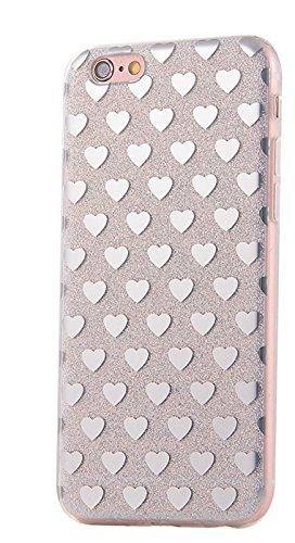 Phone Kandy® Transparente Seiten TPU Funkeln Bling Silikon-Gel-Kasten-Abdeckung Hülle (iPhone 6 6s Plus, Weiße Herzen) (Iphone 6 Telefon-kasten-designer)