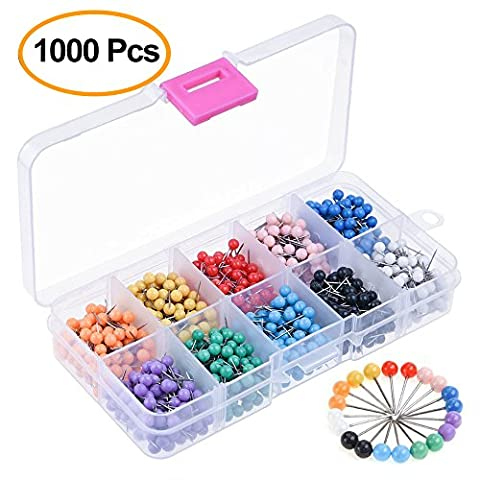 Kuuqa 1000 Pieces 1/8 inch Map Push Pins Map Tacks with Plastic Round Heads and Steel Needle Points 10 Colors (Each Color 100 PCS)