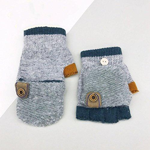 HH Winter Warme Kinder Handschuhe Niedlich Mode Grundschüler Schreiben Halbfinger Flip Handschuhe,A