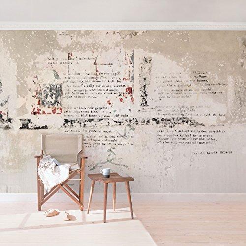 *Apalis Betonoptik Vliestapete Alte Betonwand mit Bertolt Brecht Versen Breit | Vlies Tapete Wandtapete Wandbild Foto 3D Fototapete für Schlafzimmer Wohnzimmer Küche | mehrfarbig, 108872*