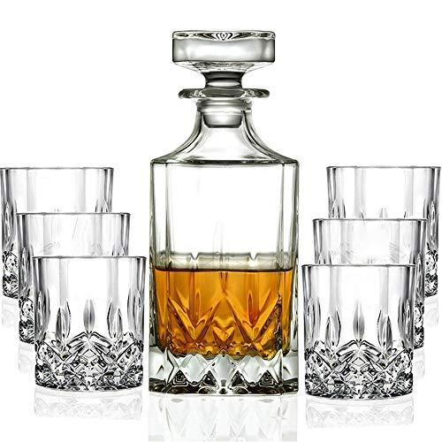 NOBLJX Set De Decantadores De Whisky De 7 Piezas: Cristalería Sin Plomo con Un Decantador De 800Ml con Vasos De 6 × 200Ml para Beber Whisky Escocés, Brandy