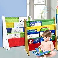 Alaygreen High Quality Childrens Bookshelf - Kids Childrens Bookcase Rack Children Colourful Sling Storage Bookshelf Nylon Fabricated to Protect Childrens