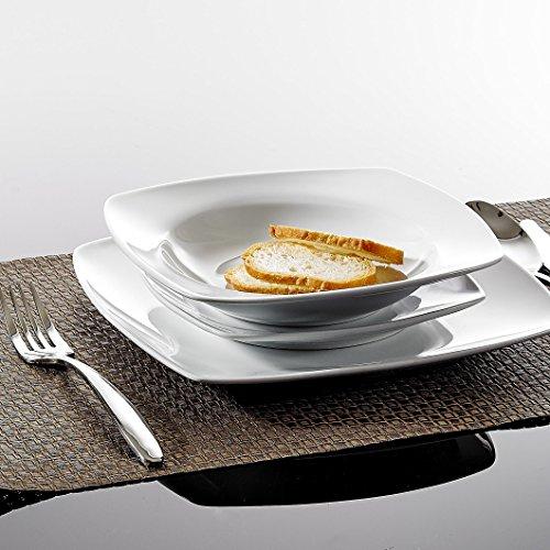 Malacasa, Serie JULIA, 18 teilig Set Porzellan Geschirrset Tafelservice mit je 6 Essteller, 6 Dessertteller, 6 Suppenteller für 6 Personen