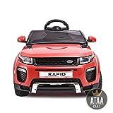ATAA Coche eléctrico para niños con Mando Range Rapid 12v con Mando Estilo evoque - Rojo