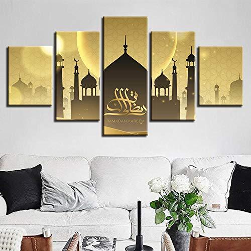Xvhsx Leinwanddrucke Modulare Poster Hd Drucke Wohnkultur 5 Stücke Islamische Moschee Leinwand Gemälde Wandkunst Muslim Allah Der Koran Bilder Mit Rahmen