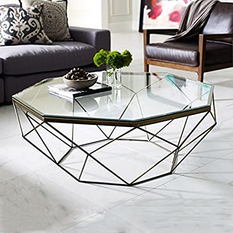 LZL Table coffee table wrought iron toughened glass table furniture coffee table coffee table small side,Assemble,Antique gold tea a few 74x40cm (middle)